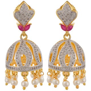 Tistabene Retails Floral American Diamonds Stylish Party Wear Jhumki Earring For Women And Girls (ER-0829)