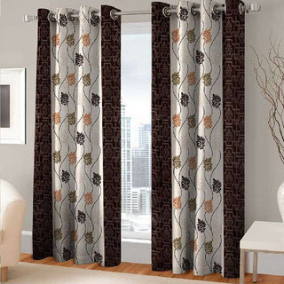India Furnish Eyelet Fancy Polyester 6 Pieces Window & Door Curtain Set - 72