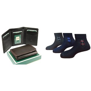 Combo - Trifold wallet  3 pairs formal socks (Synthetic leather/Rexine)
