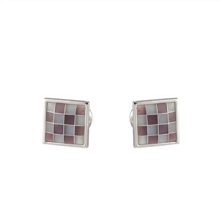 DAPPER HOMME Green and Purple Self Design Cufflinks for Men