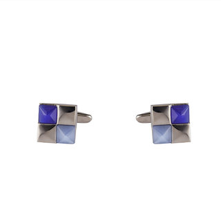 DAPPER HOMME Blue and Silver Self Design Cufflinks for Men