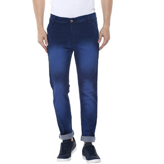 Routeen Fancy Fresko Heavy Washed Slim Stretch Denim Jeans Pants for Men