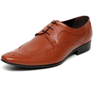 C Comfort Tan Men Formal Genuine Leather Lace up Shoes
