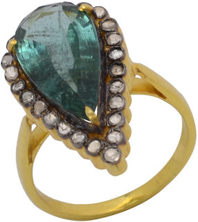 925 STERLING SILVER  RING STUDDED WITH NATURAL EMERALD AND DIAMOND