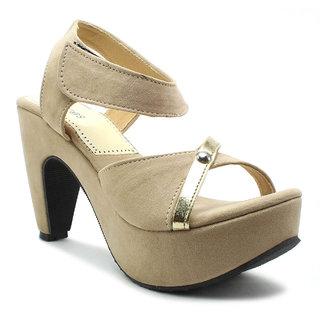 plutos Women'sBeige Heels