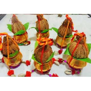 Shubh labh kalsh nariyal 6 pieces for good luck and every puja