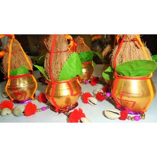 Shubh labh kalsh nariyal 2 pieces for good luck and every puja