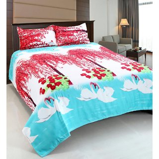 Angel home Super Soft Polycotton Double Bedsheet 160 Thread Count+ 2 Pillow Covers(PC-DBL-3D26)