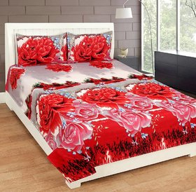 Premium Quality Red 3D Floral Double Bedsheets set