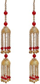 Lucky Jewellery Traditional Red color gold plated kalira for women's and girls