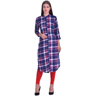 Westrobe Women Nevy Blue Check Printed Long Tunic Top