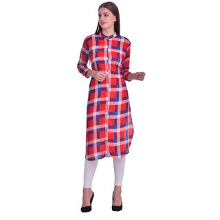 Westrobe Women Red Check Printed Long Tunic Top