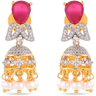 Tistabene Retails Floral American Diamonds Colored Stone Stylish Party Wear Jhumki Earring For Women And Girls (ER-0846)