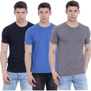 33660786a9d Buy FAB69 Solid Men s Round Neck 3 Pcs Combo T-Shirt Online - Get 53% Off