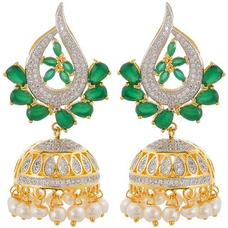 Tistabene Retails Floral American Diamonds Colored Stone Stylish Party Wear Jhumki Earring For Women And Girls (ER-0853)