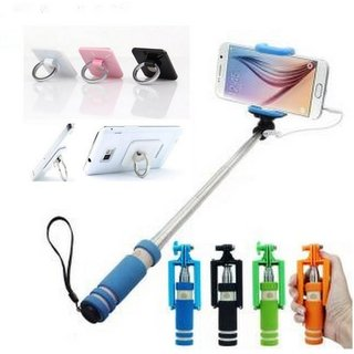 MO Combo of 1 Selfie Stick and 1 Ring Mobile Holder (Assorted colors)