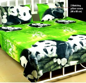 Polycotton 3D Double bedsheet with 2 Pillow Covers ( PL-01)