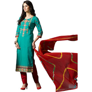 kvsfabCotton Green and Red Embroidered Dress Material PTHSK9054MRPK (Unstitched)