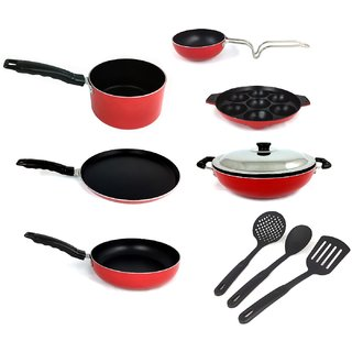Kumaka Premium Quality 2.6mm Thickness 10 pcs Non-stick Cookware Set with Lid and spoons