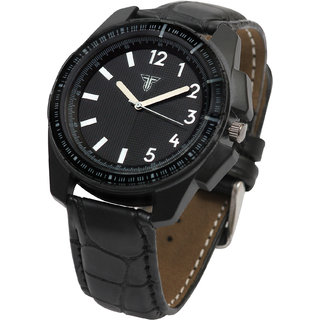 Traktime Marine Complete Black Round Dial Analogue Wrist Watch for Men with Leather Strap