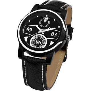 Traktime New Edge Black  White Tone Analogue Wrist Watch for Men with Leather Strap