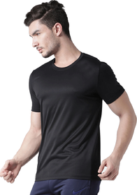 Squarefeet Men'S Black Round Neck Dri Fit T-Shirt