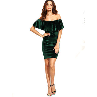 Aashish Garments - Bottle Green Ruffle Off Shoulder Velvet Dress