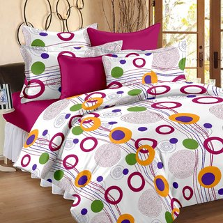 Story@Home White 100% Cotton Magic 1 Double Bedsheet-MG1451