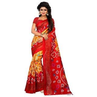 Meia Multicolor Bhagalpuri Silk Batik Print Saree With Blouse