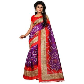 Meia Purple & Red Bhagalpuri Silk Printed Saree With Blouse