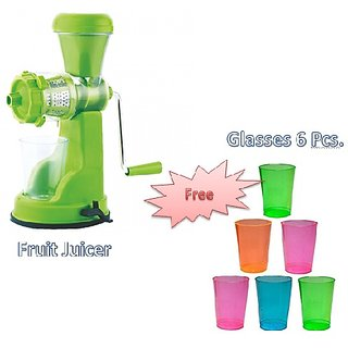 Nueva Standard Quality Special Combo offer Fruit  and Vegetable Manual Juicer With set of 6 Pcs. glasses