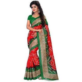 Meia Red & Green Bhagalpuri Silk Block Print Saree With Blouse