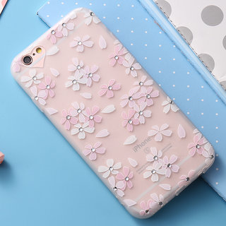 Cute Rhinestone Flower Matte Case for iPhone 6 and iPhone 6S