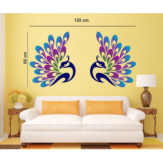 EJA Art  Decorative Peacock Feather Mulitcolor Removable Decor Mural Wall Stickers Sticker