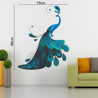 Eja Art Modern Peacock Mulitcolor Removable Decor Mural Wall Stickers Sticker90 X 75 cm