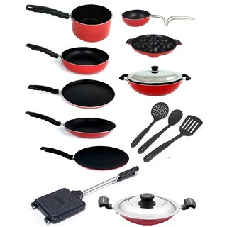 Kumaka Premium Quality 15 Pieces 2.6mm Thickness Non-stick Cookware Set with Lid and spoons Cookware Set