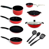 Kumaka Premium 2.6mm Thickness 7 pcs Non-stick Cookware Set with 3 Nylon heatproof spoons with 1 SS lid