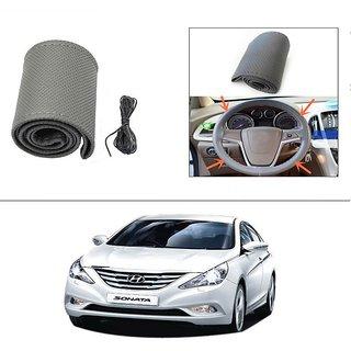 AutoStark Leatherette Car Steering Wheel Cover Grey - Hyundai Sonata