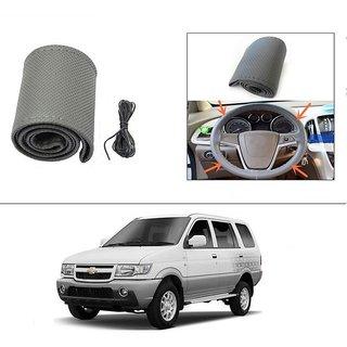 AutoStark Leatherette Car Steering Wheel Cover Grey - Chevrolet Tavera