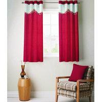 Fabutex Polyster Maroon Plain Crush Eyelet Door Curtain