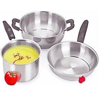 Sheffield Classic Induction Friendly 3 Pcs Stainless Steel Cookware Set (Kadai, Fry-Pan, Sauce-Pan) SH-3PCSS