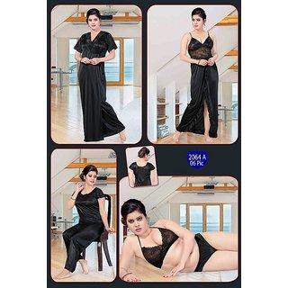 6faadb4058 Womens Sleepwear 6pc Bra Panty Top Pajama Pant Nighty Over Coat 2064A Black Night  Robe Set