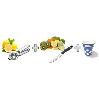 Nueva standard quality buy Lemon squeezer get free Black queen Knife multipurpose and Glass combo offer