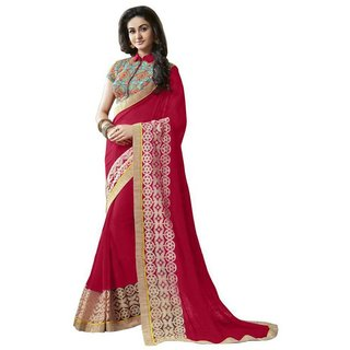 Meia Pink Crepe Embroidered Saree With Blouse