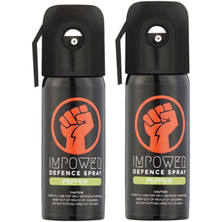 IMPOWER Self Defence Pepper Spray - Sprays upto 12 feet and 45 Shots (Couple Pack of 2)