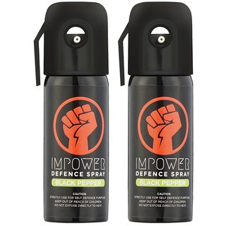 IMPOWER Self Defence Black Pepper Spray - Sprays upto 12 feet and 45 Shots (Couple Pack of 2)
