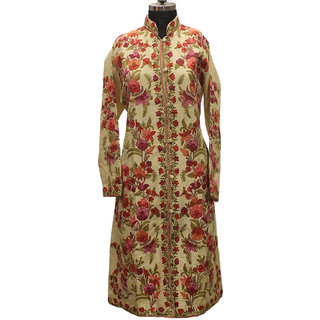 Off White Multicolored Kashmiri Embroidered Aari Silk Jacket