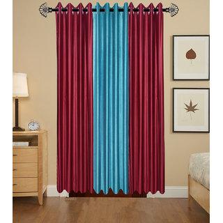Shivaay Home Creations Plain Eyelet Window Curtains-4*5 Feet (set of 3)