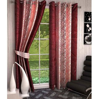 Shivaay Home Creations Abstract Eyelet Window Curtains 4*5 Feet (set of 2)