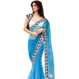 Svb Saree Fully Net  Blue Bollywood saree